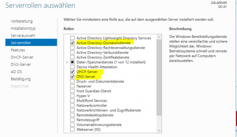 Domäne Einrichten Unter Windows Server 2016 Standard Datacenter