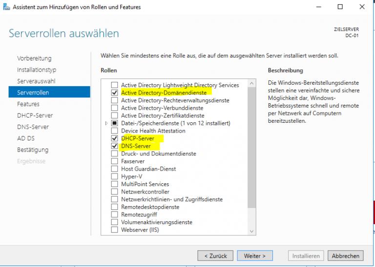 Domäne einrichten unter Windows Server 10  Standard